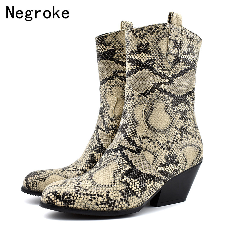 Luxury Faux Leather Cowboy Ankle Boots for Women Wedge High Heel Boots Snake Print Western Cowgirl Botas Zapatos Mujer 2019 in Ankle Boots from Shoes
