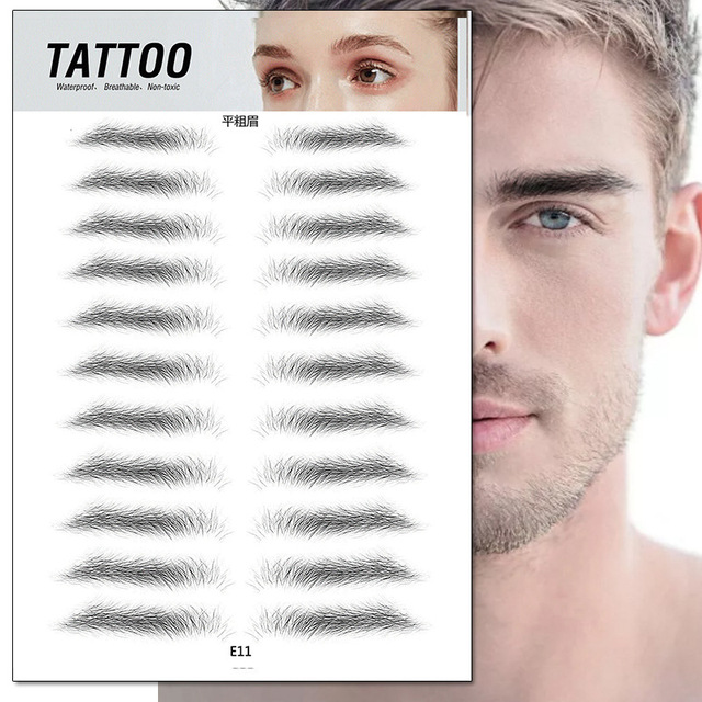 4D Eyebrow Tattoo Sticker Hair-Like False Eyebrows Waterproof Long Lasting Water Transfer Eye Brow Stickers Makeup Cosmetics 5