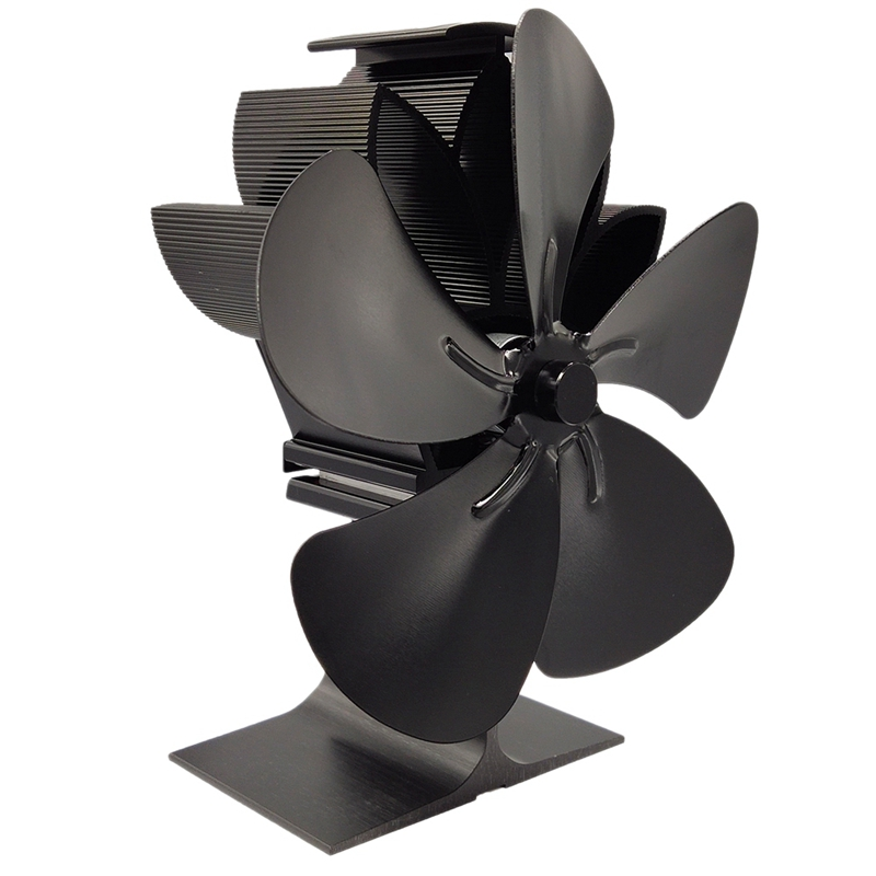 Wood Stove Fan 5-Blade - Heat Powered Log Burner Increases 80% More Warm Air Than 2 Blade Eco-Friendly With Stove Thermometer Bl