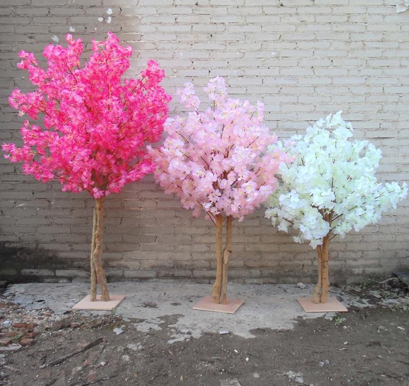 Novo branco artificial cerejeira flores árvore simulação