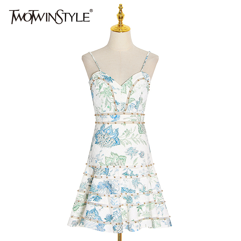 TWOTWINSTYLE Vintage Print Women Dress Square Collar Spaghetti Strap High Waist Mini Hollow Out Hit Color Dresses Female Fashion