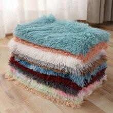 Manta de lana de felpa larga para niños, alfombra pequeña y muy cálidas, de microlanzamiento sólido, sofá, ropa de cama, manta para perro y gato casero de oficina