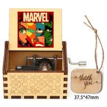 Venda quente caixa musical de madeira 3d impresso esculpida caixa de música tema retro caixa de música presente de natal