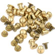 Parafuso de metal redondo, cabeça redonda de bronze sólido com 5 8mm, parafuso traseiro, parafuso de chicago, rebite de mamilo e mamilos com 10 peças cinto de couro com fivela para artesanato,