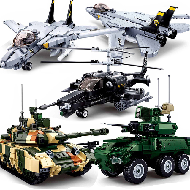 WW2 Tank Armored Car Panzer Military Vehicle Helicopters Plane Model Building Blocks Warcrafts SWAT Army Bomber