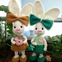 DIY Cute rabbit Crochet yarn soothing doll net red crooked mouth rabbit gift Wool material package(China)