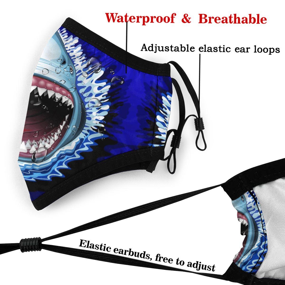 Image 5 - サメの口の口フェイスマスクサメ顎攻撃フェイシャルマスク河合面白い 2 フィルタ大人のためのマスク   -