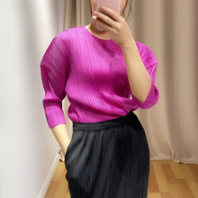 LANMREM 2020 Pleated Tshirt Women Wild Solid Puff Sleeve Short Slim Causal Round