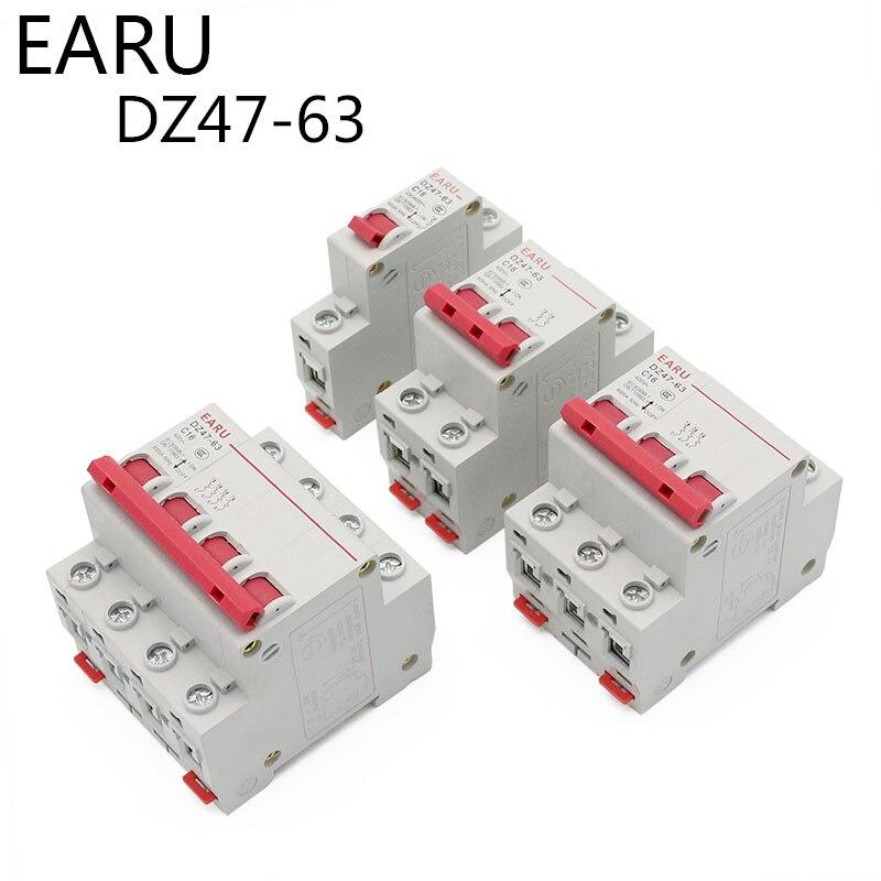 H56ccfb27fa61449696af3c42752a5953Y - DZ47 1-4 Pole 3A/6A/10A/16A/20A/32A/40A/50A/63A 400V C Type Mini Circuit Breaker MCB 35mm Din Rail Mount Breaking Capacity 6KA