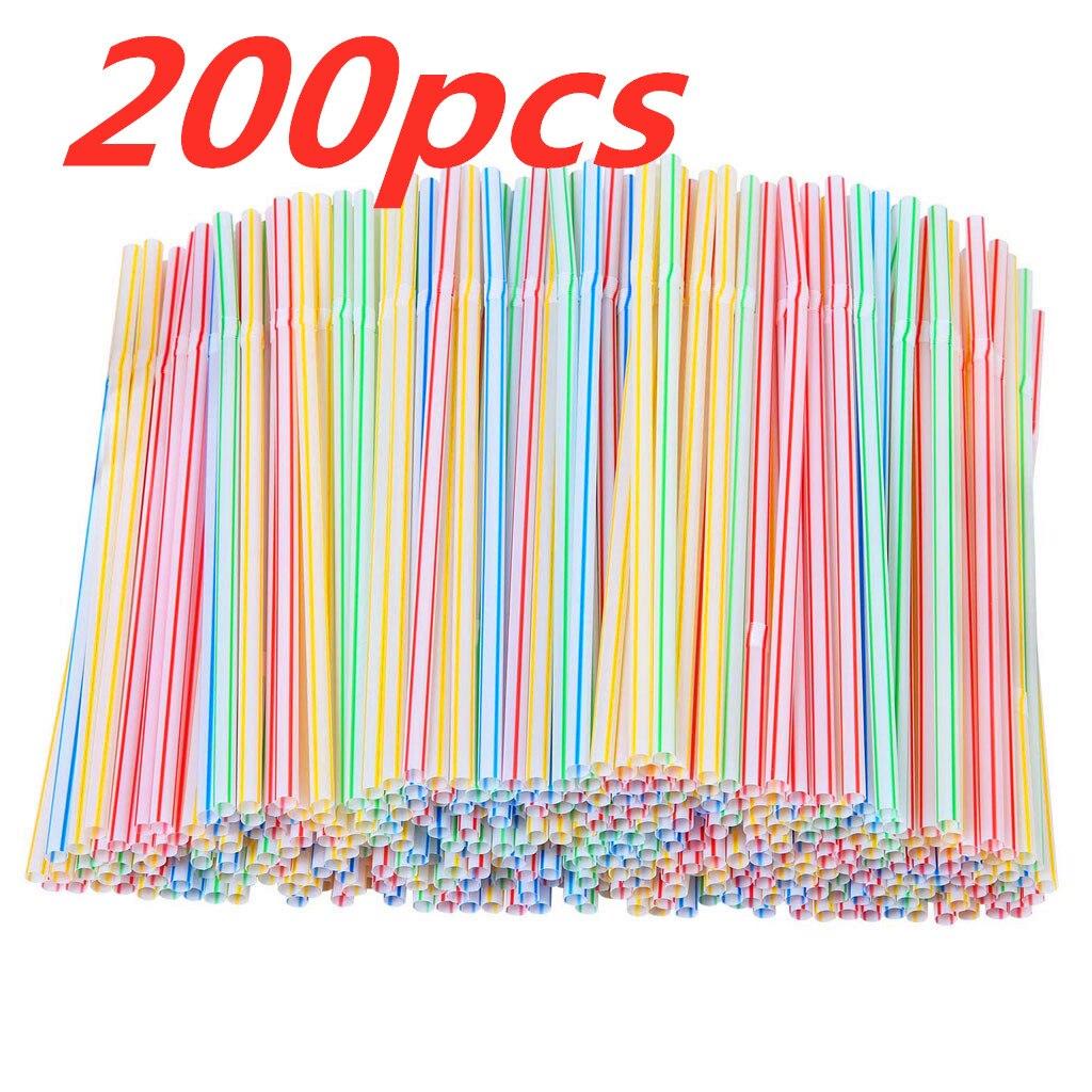200 шт. разноцветные соломинки Пластик длинный гибкий питьевые соломки для вечерние, держащих букет невесты на свадьбе, питьевой бар сок в по...