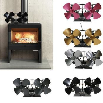 Heat Self-Powered Fireplace Stove Top Fan Quiet 8 Blades 2 Monitors Aluminum Warm Large Room Wood Log Burner Eco Friendly