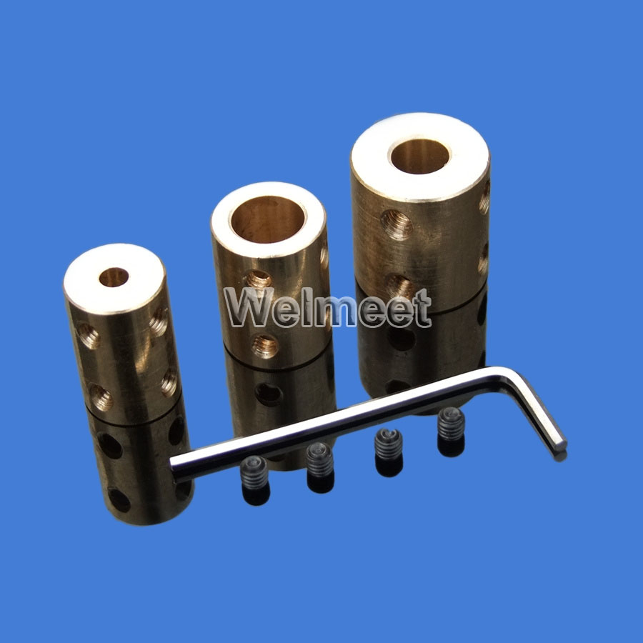 1pcs 4mm/5mm/6mm/8mm/10mm/12mm Copper Rigid Shaft Coupling Coupler Motor Connector Sleeve image