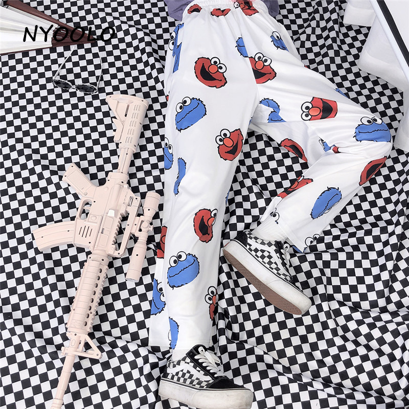 NYOOLO Harajuku Streetwear Funny Frog Print Loose Pants Women And Men Summer Elastic Waist Ankle Length Straight Pants