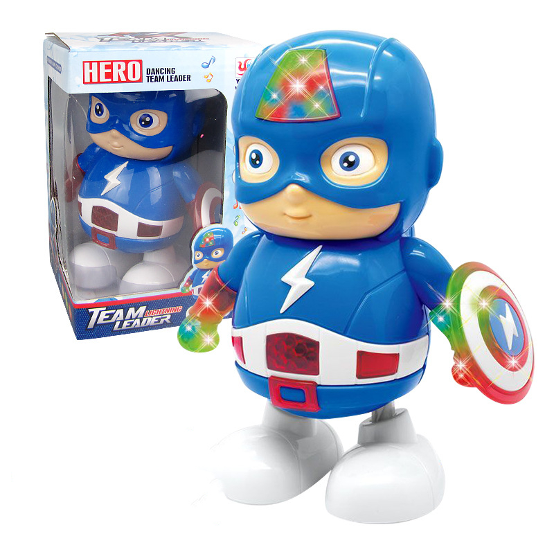 Dance Captain America Action Figure Toy LED Flashlight With Sound Kids Gift