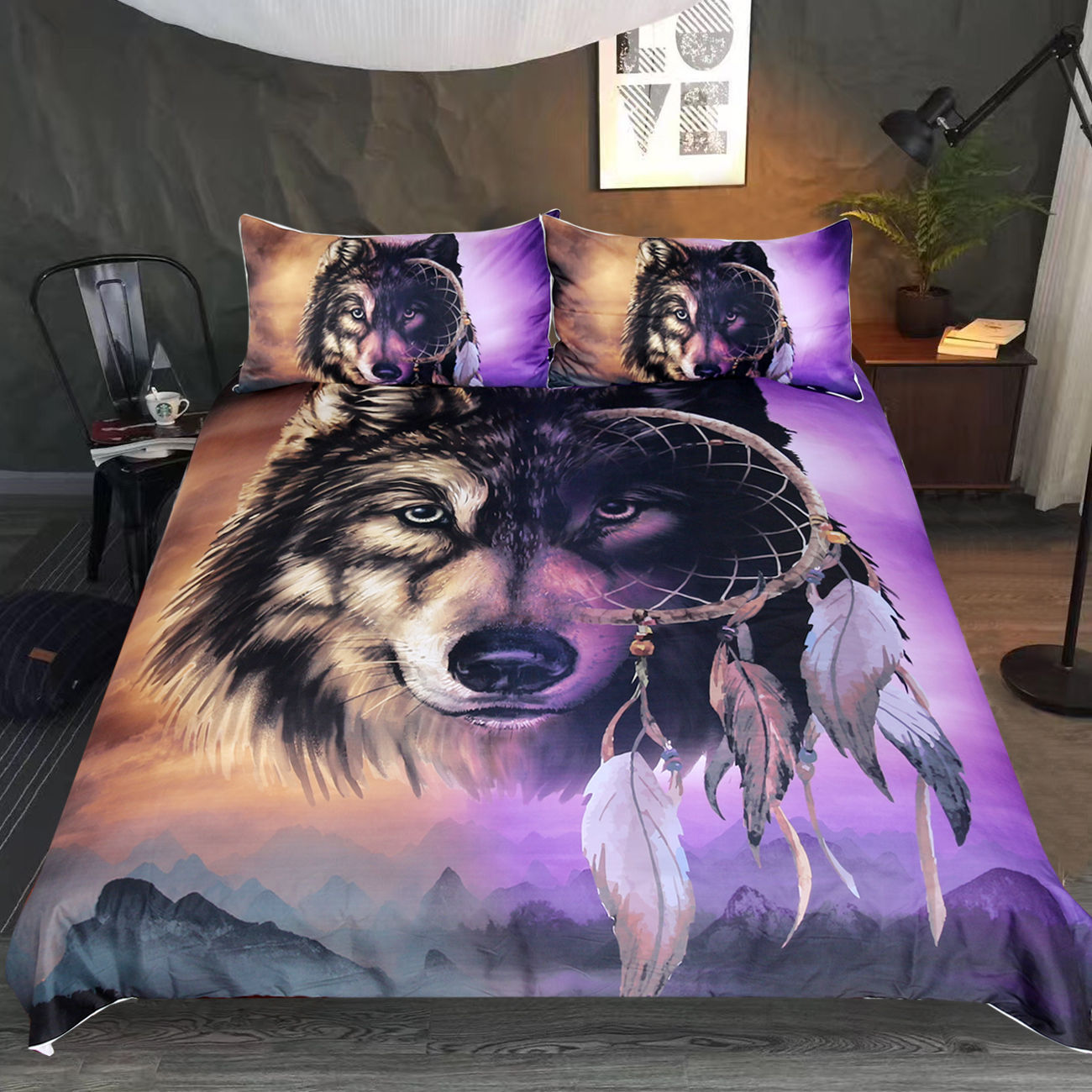 Textile Foreign Trade Four-piece Set 3D Purple Wolf Europe And America Hot Sales Amazon AliExpress Hot Selling Bedding Three-pie