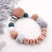 Pacifier Clips Personalized Wooden-Holder Teething-Chain Name Silicone Baby DIY Safe