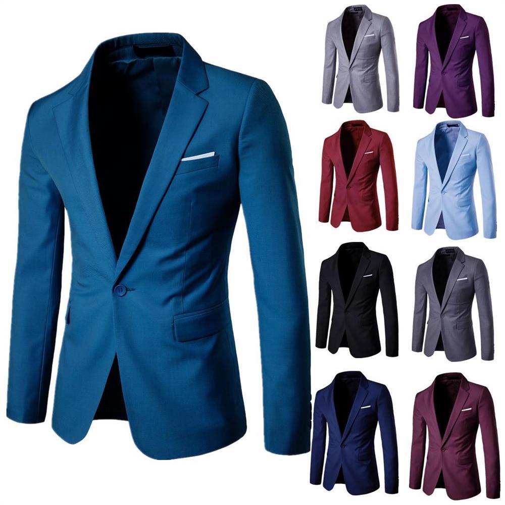 9 Colors Optional Plus Size S-5XL Blazer Masculine Blazer-Tuxedo Dress Men One Button Male Solid Slim Fit Costume Suit Jackets
