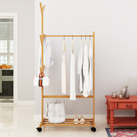 On Behalf of Coat Rack Floor Solid Wood Clothes Rack Household Bedroom Clothes Rack Simple Modern Removable Clothes Hanger