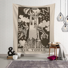 Northern Europe Ins Wall Cloth Tapestries Art Tarot Black And White Pattern Printed Wall Hanging Tapestry Home Decor Yoga Mat fire and water butterfly pattern wall art tapestry