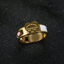 Dainty Luxury Jewelry Gold Color Stainless Steel Forever Love Enamel Heart Ring For Women Finger Rings For Women Jewelry Gifts