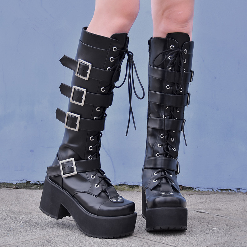Gothic bottes femme bottes Bout D/'Aile En Cuir Fermeture Éclair Plateforme Talon Haut Lacets Chaussures #