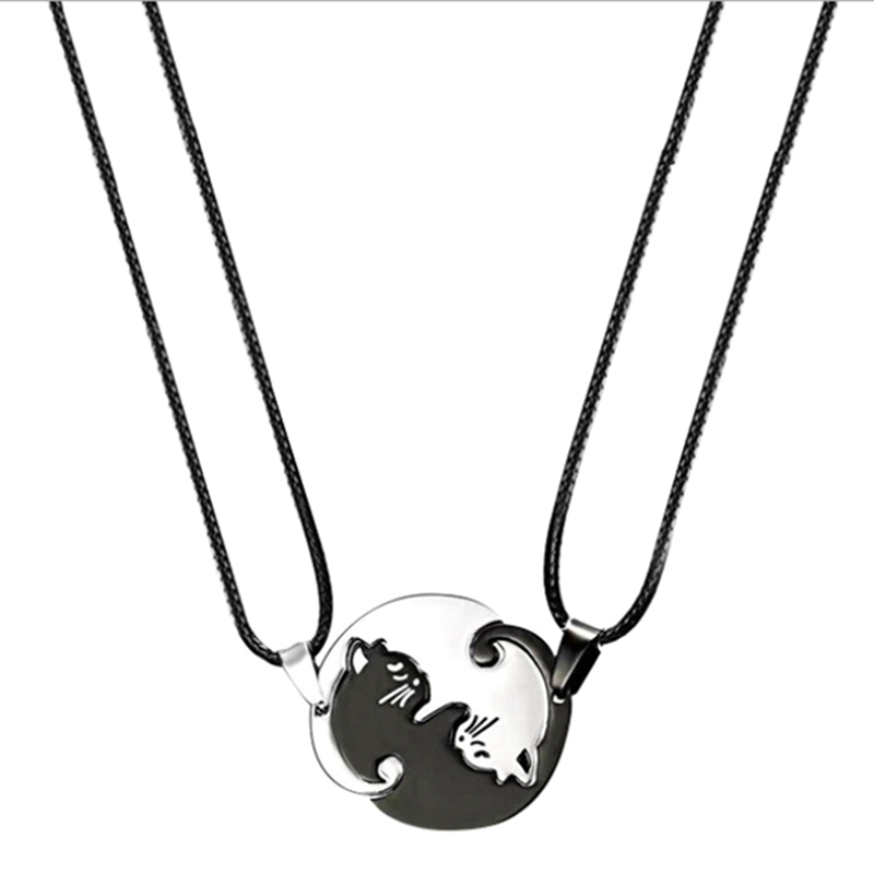 1 Pair Splice Cat Couple Necklace Stainless Steel Love Heart Round Pendant Necklace Fashion Jewelry Unisex Gift Valentine's Day