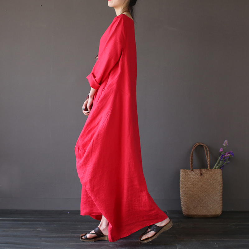 19 Summer autumn Plus Size Dresses Women 4xl 5xl Loose long vintage Dress Boho Shirt Dress Maxi Robe fashion Female Q293 9
