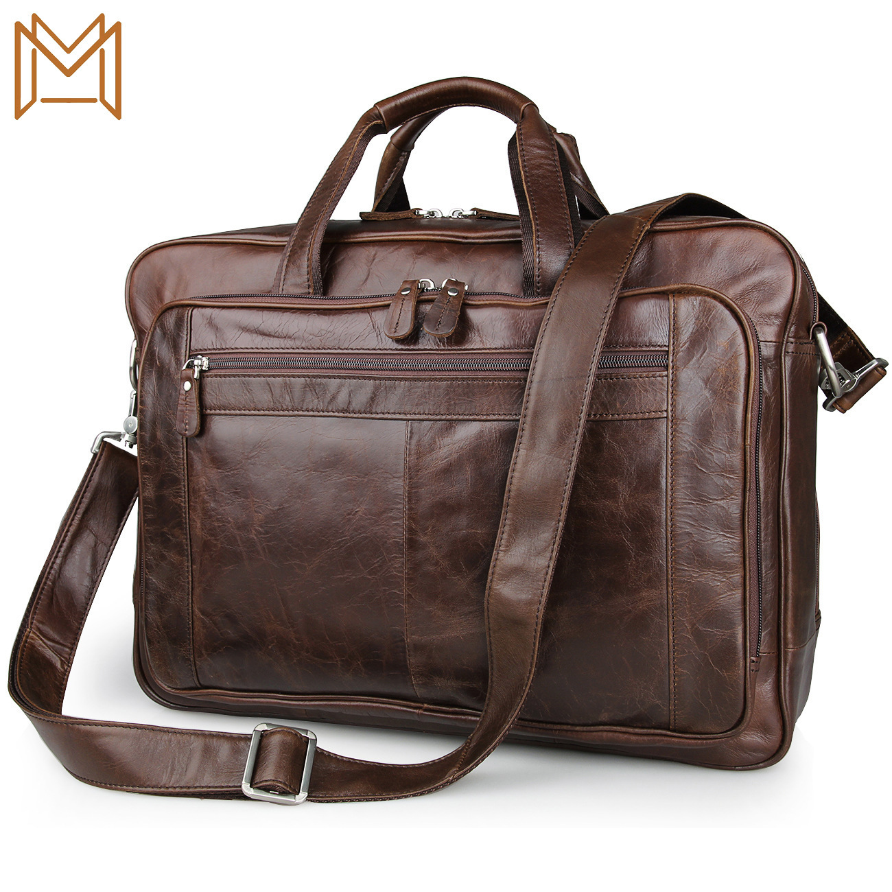 Genuine Leather Male Package Oil Wax Business Affairs Package Briefcase Tuba Genuine Leather Handbag Inch Computer Package