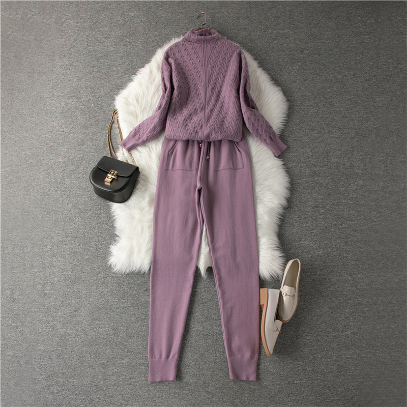 2020 New Women Sweater Suits Track Costumes 2 Piece Sets Autumn Winter Turtleneck Pullovers And Long Pants Knitted Suits Female