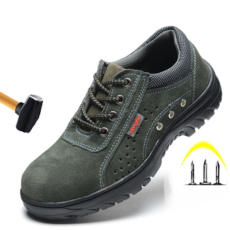 New Men Shoes Steel Toe Shoes Work Safety Boot Breathable Slip On Work Boots Sneakers Shoes Anti-smashing Piercing Safety Shoes