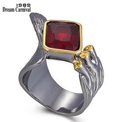 DreamCarnival1989 przesadzone nowy gotycki pierścień dla kobiet Split Flap otwarty od góry czerwony kwadrat cyrkonu osobowości kobiece pierścienie WA11779