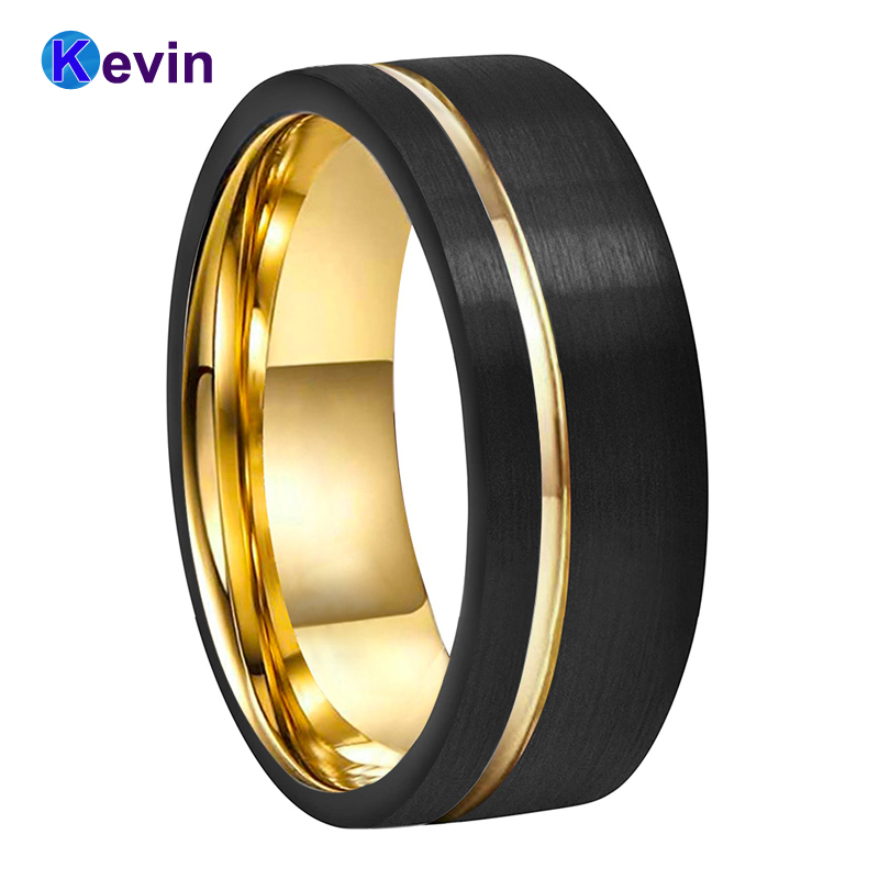 Men Women Yellow Gold Wedding Band Tungsten Ring Width 8MM With Offset Groove And Comfort Fit