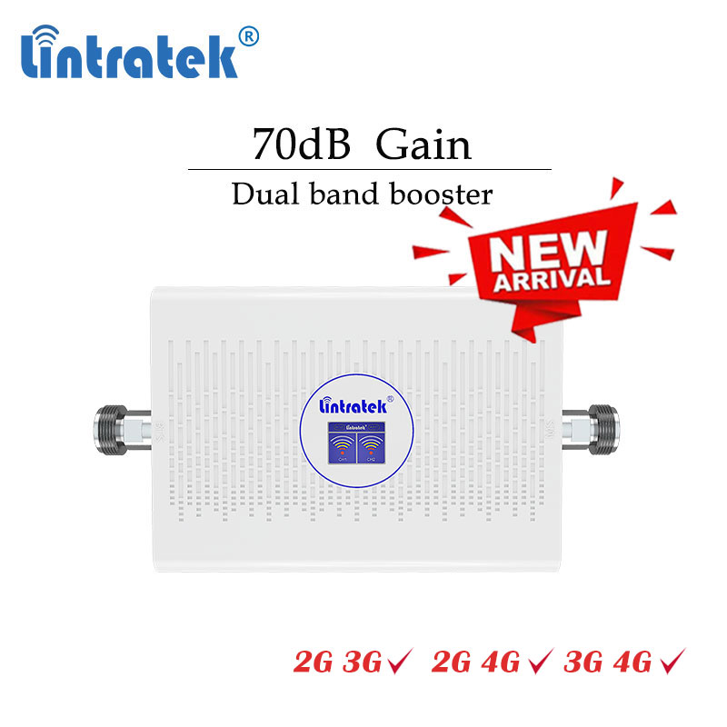 Lintratek 70dB Dual Band 2G 3G 4G Cellular Signal Booster GSM 900 1800 2100mhz 900mhz Repeater 4G 1800mhz LCD Amplifier ALC  #dd