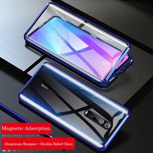 Металлический магнитный чехол для Redmi Note 8 7 9 SE 10 K20 Pro, двухсторонний чехол из закаленного стекла для Xiaomi Mi 9T Pro CC9 CC9E 6X, чехлы