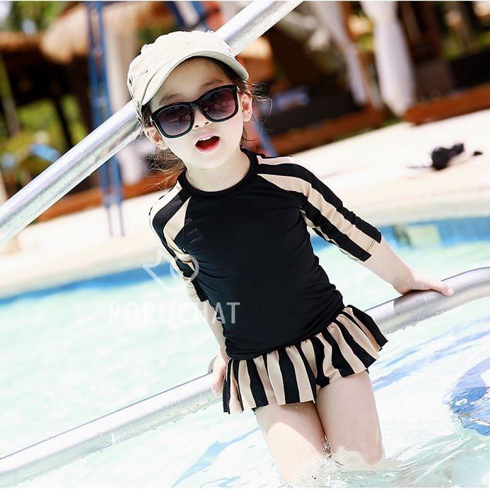 2017 Mother & Daughter Parent And Child Bathing Suit Split Type Long Sleeve Hot Springs Cold Black Stripes Conservative Children