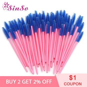 50Pcs/Pack Disposable Micro Eyelash Brushes Mascara Wands Eye Lashes Extension Colorful Professional Makeup Brushes Set Kit Tool