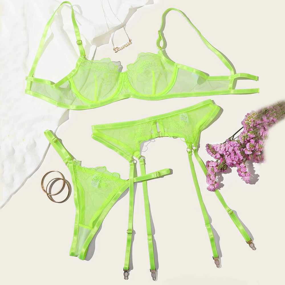 New Fashion Bralette Panties Push Up Lingerie Perspective hollowing Lace Babydoll Sexy G-String Underwear Nightwear Bra Sets Women Women's Clothings Women's Lingeries cb5feb1b7314637725a2e7: Green
