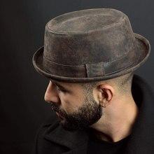 100% chapéu de couro fedora para homens plana porco torta chapéu cavalheiro bowler igreja jazz sun hat grande 4 tamanho s m l xl