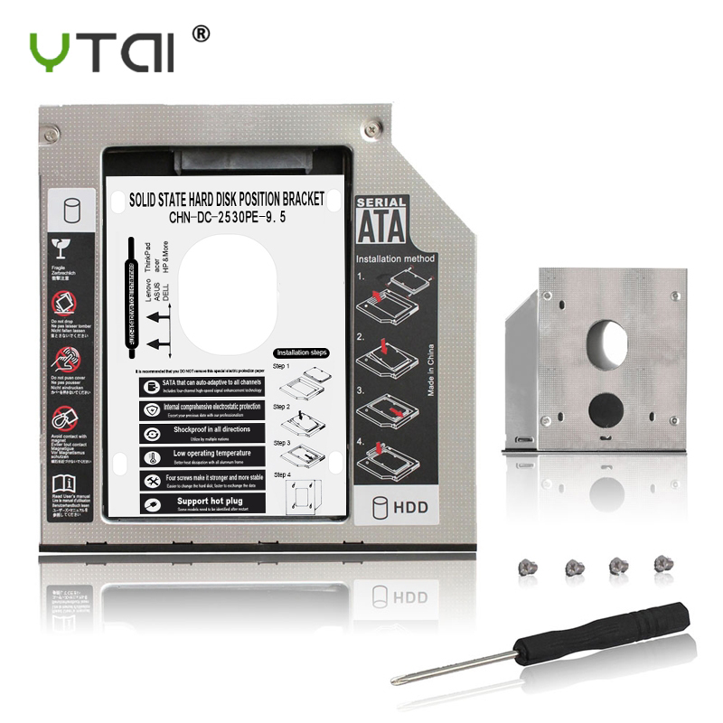 """Aluminum Optibay 9.5mm SATA 3.0 2nd HDD Caddy SSD CD DVD Case Enclosure Caddy Sledding For Laptop 13"""" 15"""" 17"""" SuperDrive"""