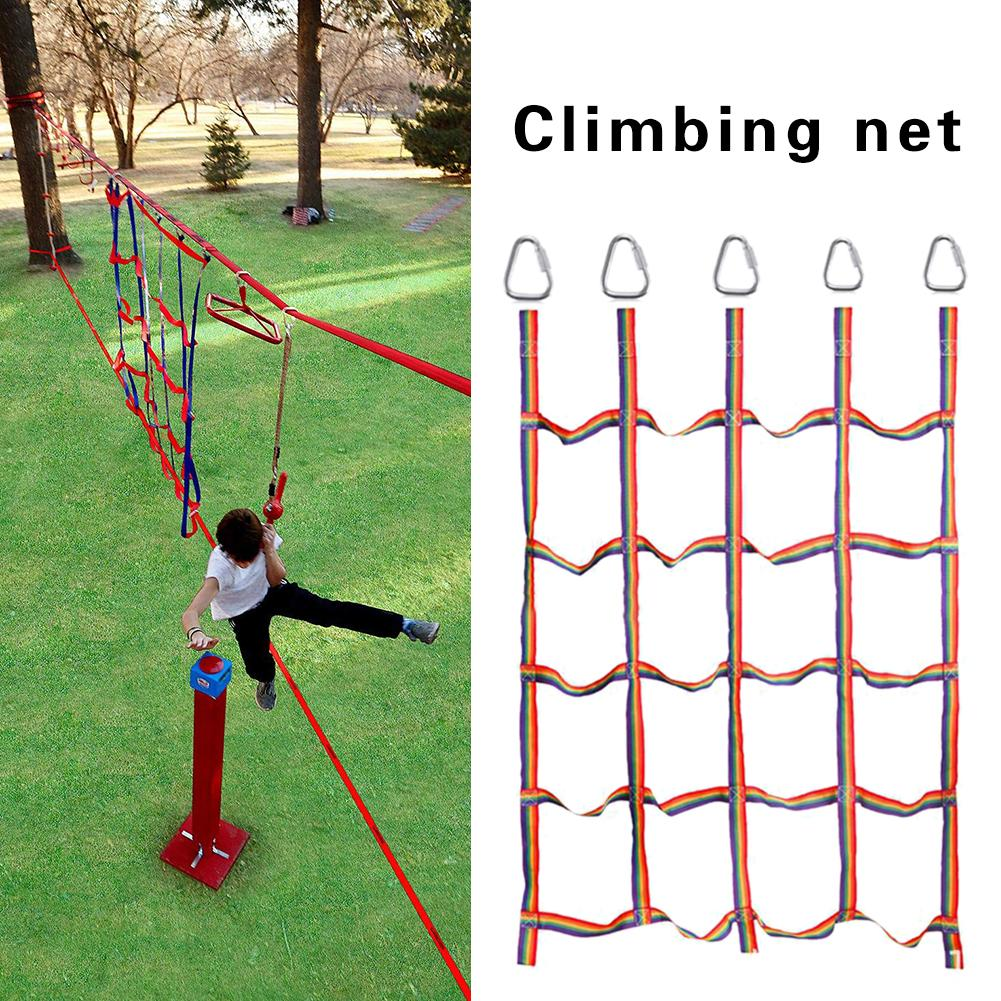 Outdoor Rainbow Ribbon Net Work Physical Training Climbing Net Children's Athletics Climbing Net For Daily Sports Entertainment