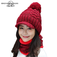 New Fashion Women Winter Hats and Sets Warm Scarf Thick Wool Knitted Fur High Quality Pompons Lady Beanie
