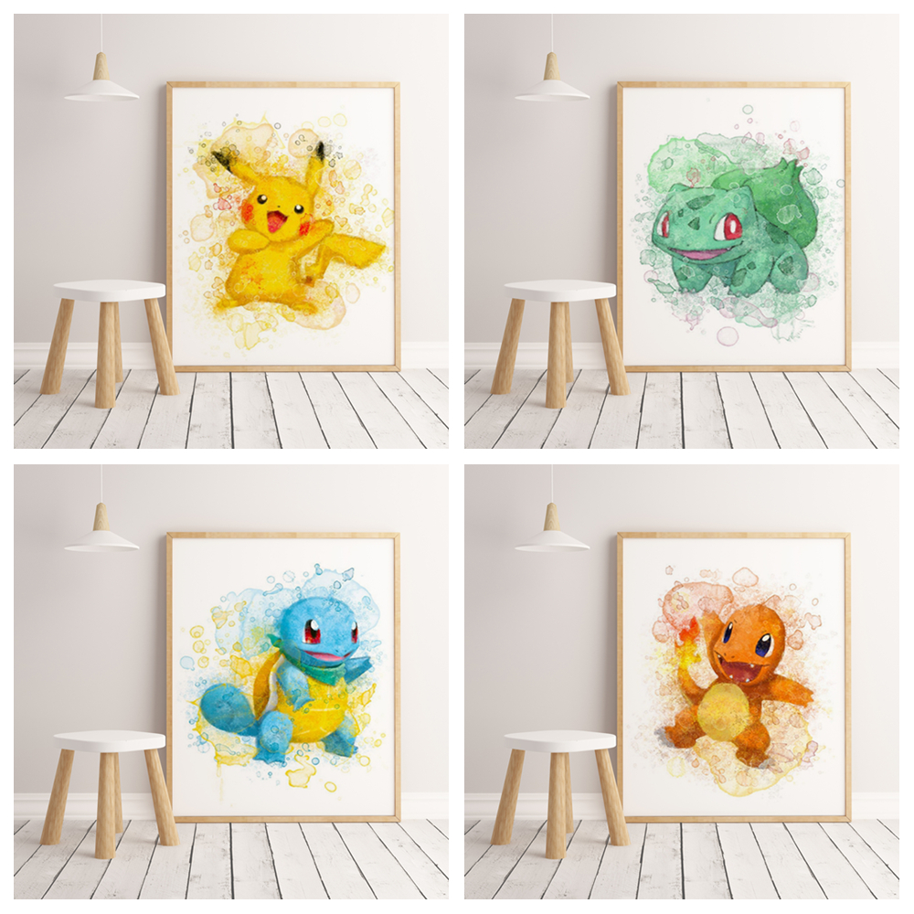 Popular Anime Cartoon Pokemon Family Decoration Watercolor Decorative Painting Poster Wall Art Canvas Painting No Frame O137