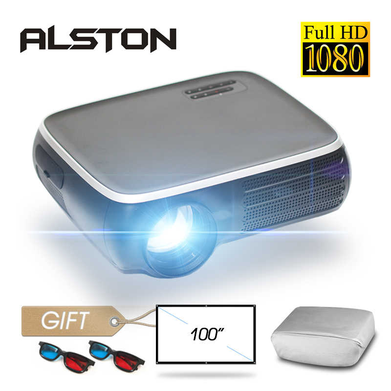 ALSTON M8S Full HD 1080P proyector 4K 7000 lúmenes cine proyector Android WiFi Airplay HDMI USB VGA AV con regalo