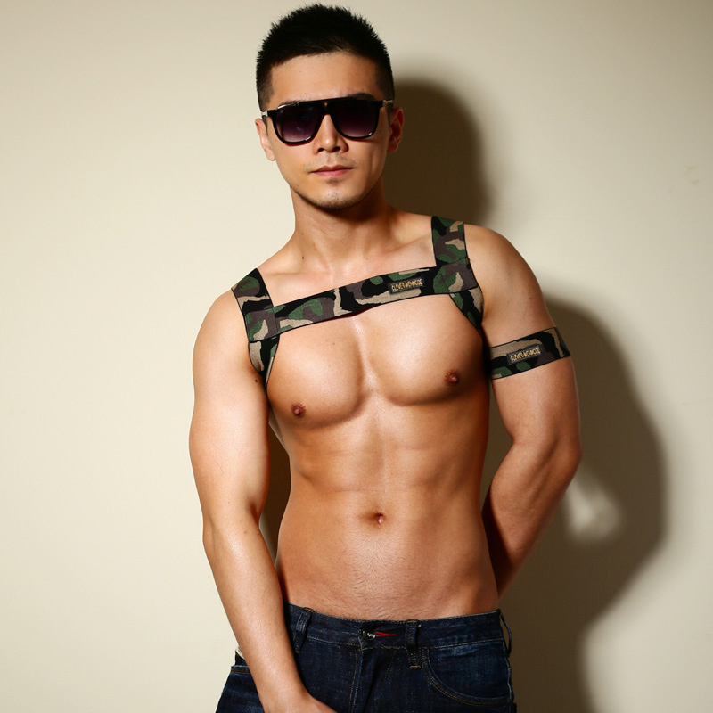 Sexy Men Harness Lingerie Chest Strap Costume Elastic Bondage Hombre Night Club Stage Performance Wear Camouflage With Arm Band
