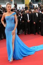 Милая длинная сине шифон платья знаменитостей Русалка robe de