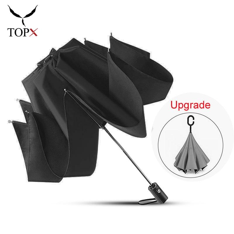 Reverse Umbrella Automatic 3 Folding Umbrella Rain Women Windproof Big Umbrella Men Business Umbrellas Waterproof,Black