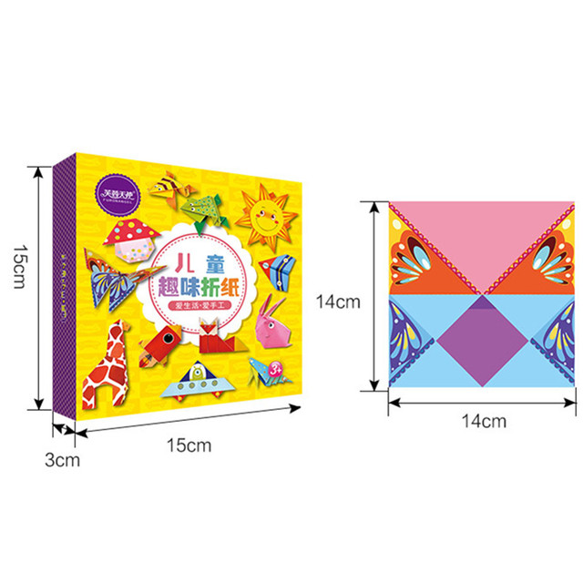 Cartoon Origami Paper Colorful Book Children Toy Animal Pattern 3D Puzzle Handmade DIY Craft Papers Educational Toys 108 PCS 6