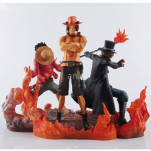 цены 3 PCS Anime One Piece DXF Brotherhood II Monkey D Luffy Figures Portgas D Ace Sabo PVC Action Figures Collectible Model Toys