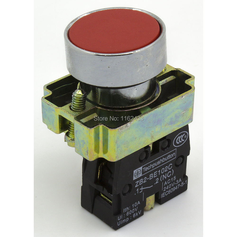 Round Push Button Switch SPST pushbutton Off XB2-BA42 22mm Reset ON