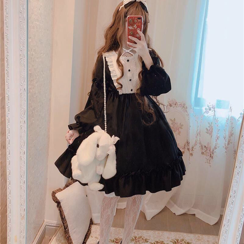 Japanese Gothic Lolita Dress Women Kawaii Bow Bear Lace Blue Dress Long Sleeve Princess Dress Halloween Costume Gift For Girls 8